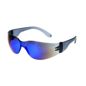 United Glove Blue Mirror Lens With Black Frame Safety Glasses