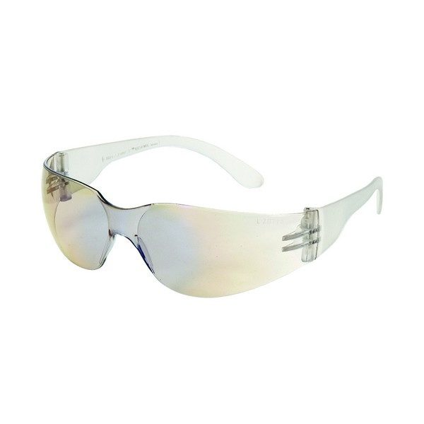 United Glove Blue Mirror on Clear Lens With Clear Frame Safety Glasses