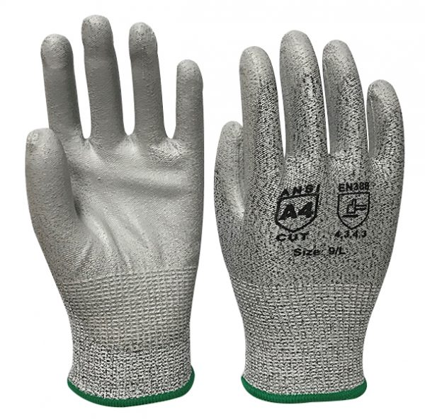 Blended Knit Glove with Polyurethane Palm Coating – Cut Level A4