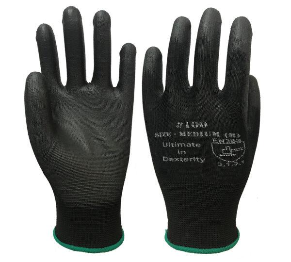 PU100BK Black knit Shell with Black Polyurethane Palm Coating