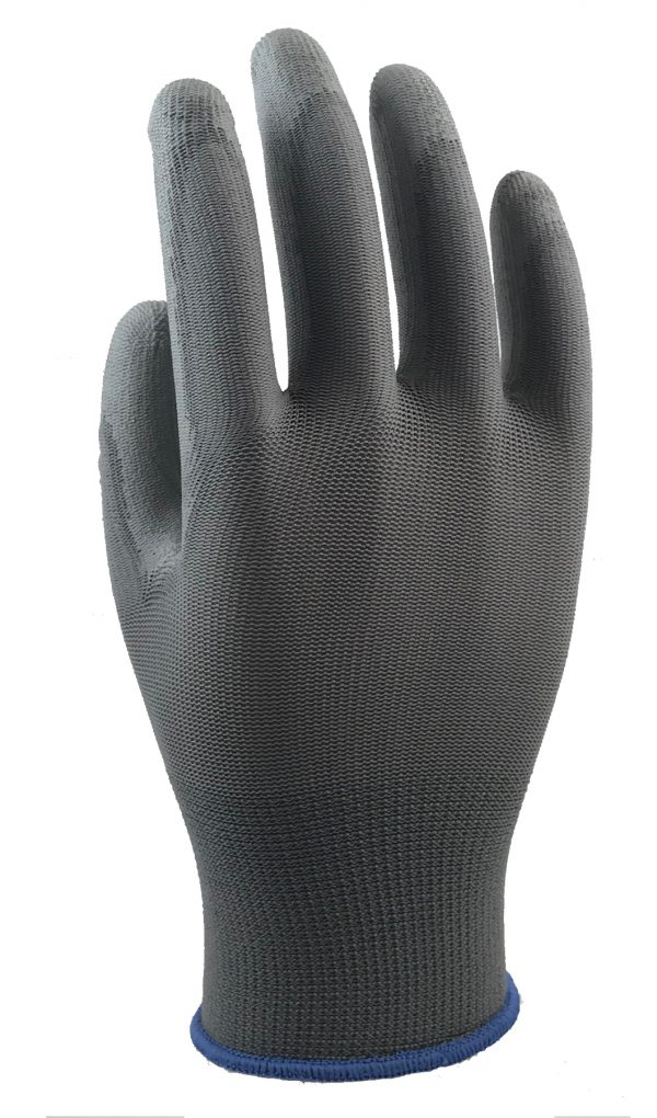Lightweight Grey Polyurethane Palm Coated Gloves