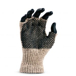 Cold Resistant Medium Weight Ragg Wool Fingerless Seamless Knit Glove with Added PVC Dots